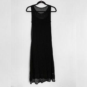 Eileen Fisher | NWOT Black Mesh Over Silk Dress S